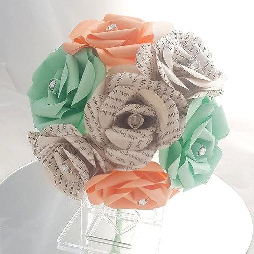 Sasha - Peach and mint green bridesmaid bouquet, Book paper wedding flowers