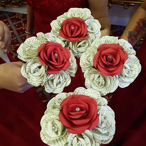 Penny - Bridesmaid bouquets, Book and red rose paper flowers, Book flowers