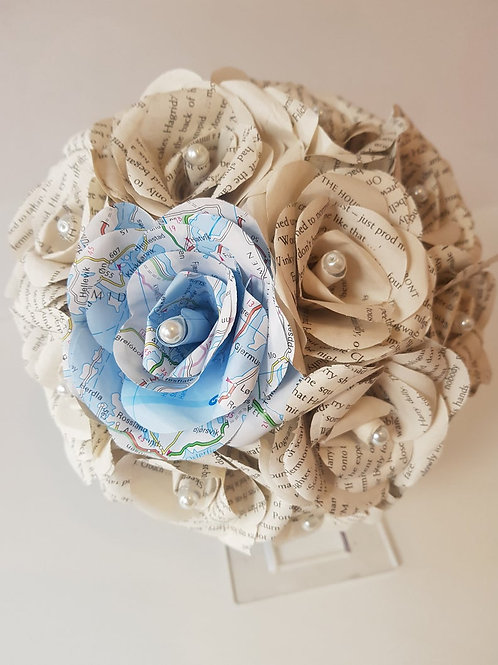 Clara - Map and book paper flower bouquet, travel Bridal bouquet