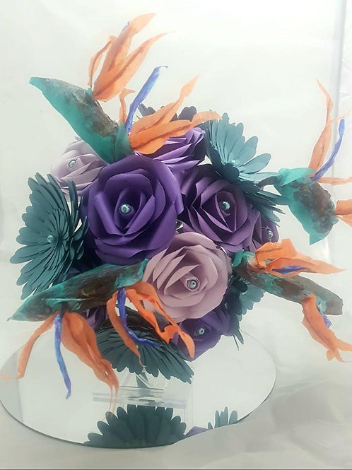 Talia - Birds of paradise bouquet, paper bridal bouquet, tropical wedding