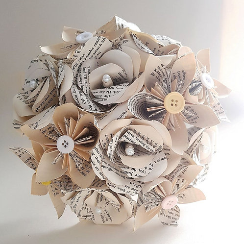 Ava - Book bouquet, Book page roses and origami, Bridal bouquet, Paper Wedding