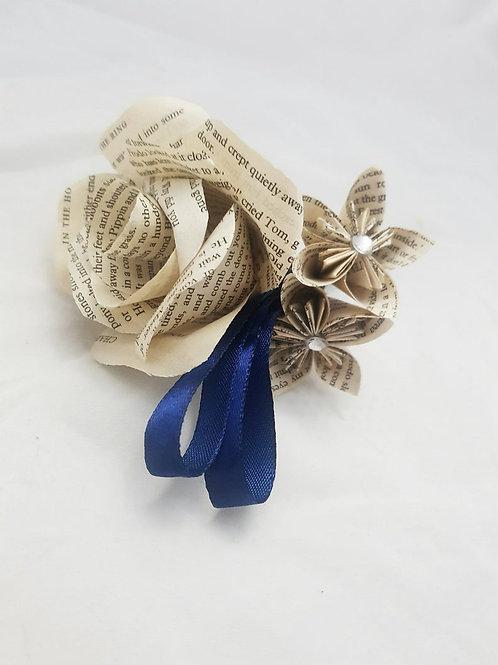 Quinn - Grooms boutonnière, Paper wedding flowers, Groomsmen flowers buttonhole