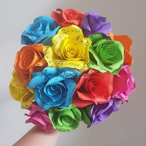 Rainbow songsheet roses, Bridal bouquet, Pride flowers, Paper flower bouquet