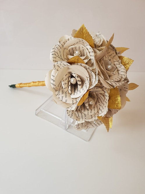 Bella - Book bridal bouquet with gold leaves, Paper flowers