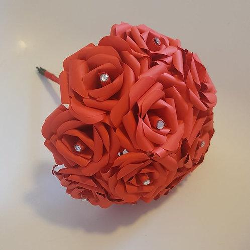 Bridget - Classic wedding paper flower red rose bridal bouquet with diamantes