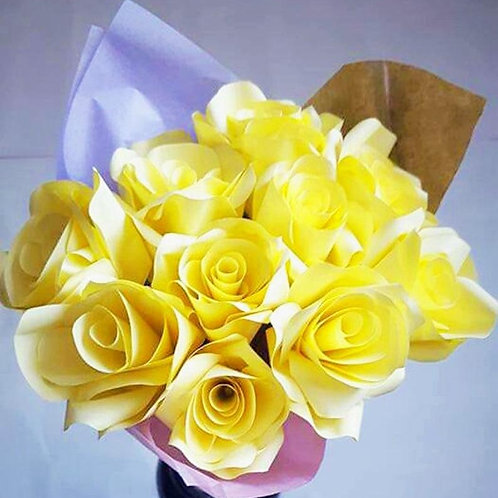 Yellow roses, Paper flower bouquet, First anniversary flowers, Mother's day