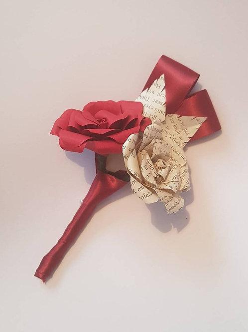 Cedar - Double flower buttonhole, Groom's boutonniere, Book wedding flower