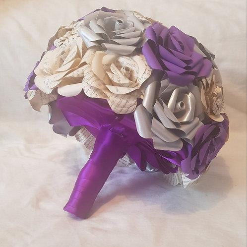 Eve - Purple and silver bridal bouquet, Paper flowers, Cadbury purple wedding