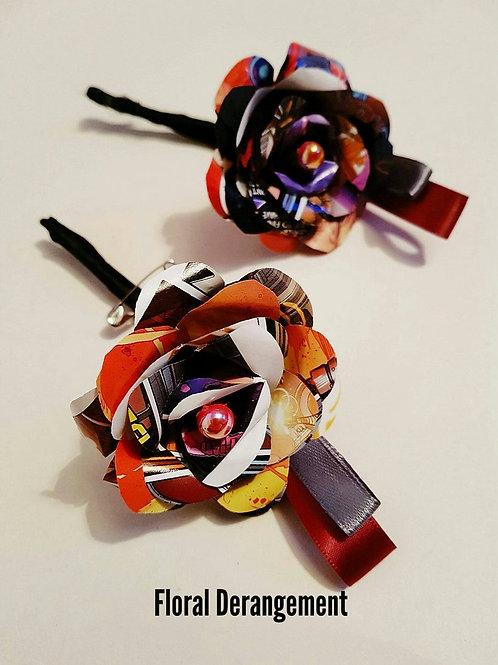 Logan - Comic book buttonhole, Geek paper flowers, Grooms boutonniere
