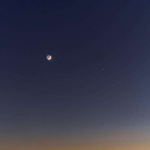 Conjunción Luna, Júpiter y Saturno
