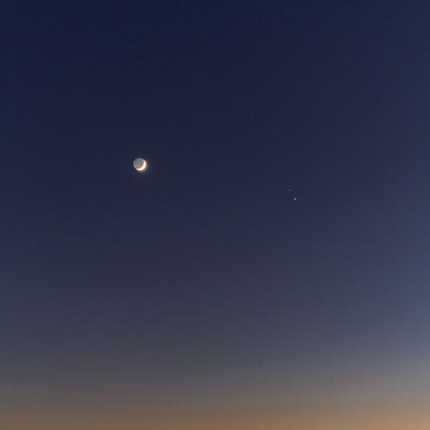 Earthshine Moon, Jupiter and Saturn conjunction
