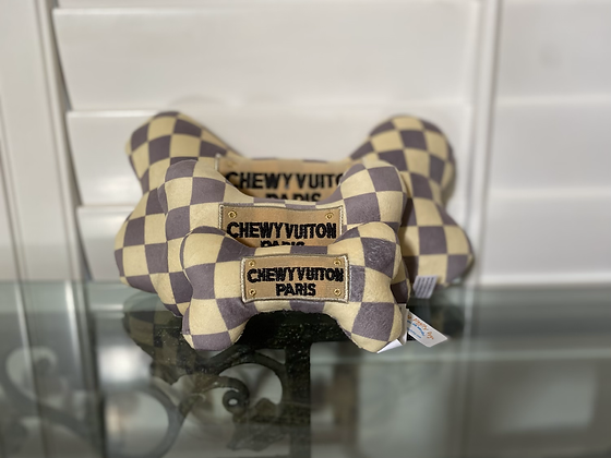 Checker Chewy Vuiton Bone Toy