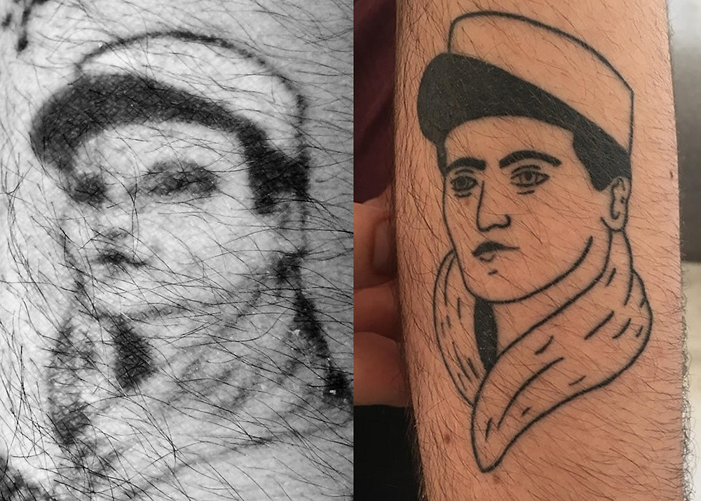Two tattoos of a French legionnaire. One old and faded, one new.
