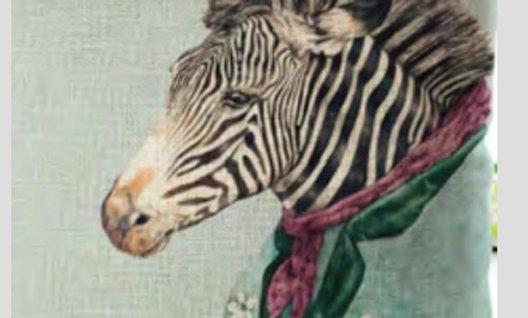 Cojín Zebra de corbata burdeo