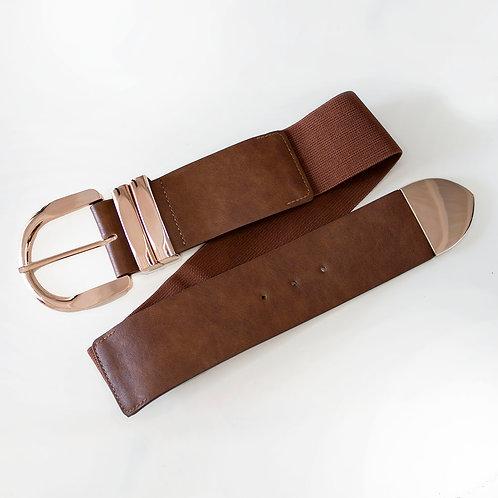 Cintura Marrone con fibia Oro