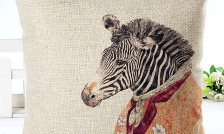 Cojín Zebra con pañuelo beige