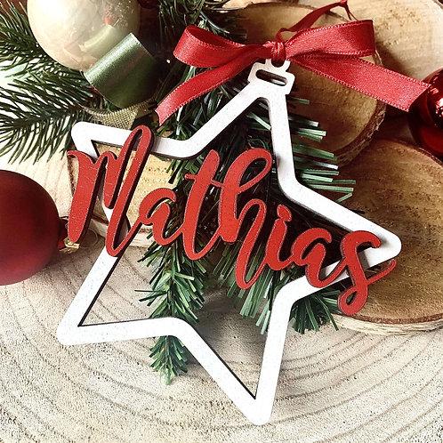 Stella albero di Natale con nome