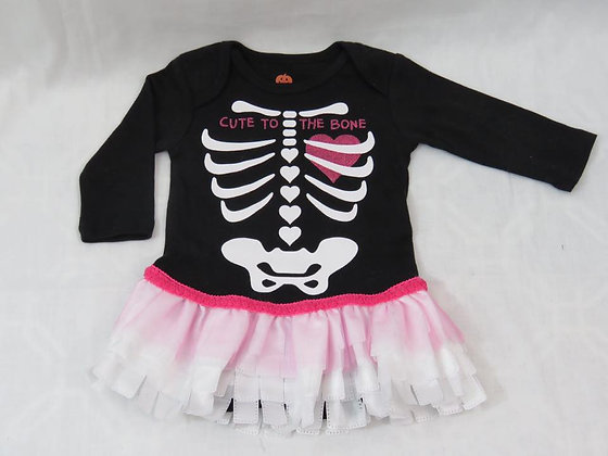 """Cute to the Bone"" Onesie Dress, Size 0-3mos"