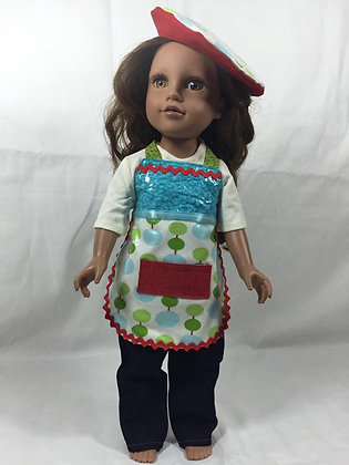 "18"" Doll Art Apron & Beret"