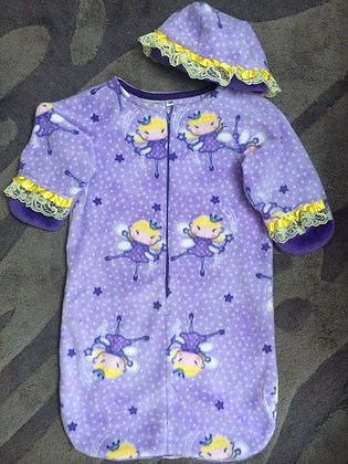 """""""Purple Fairies"""" Bunting with Cap, Size 6mos"""