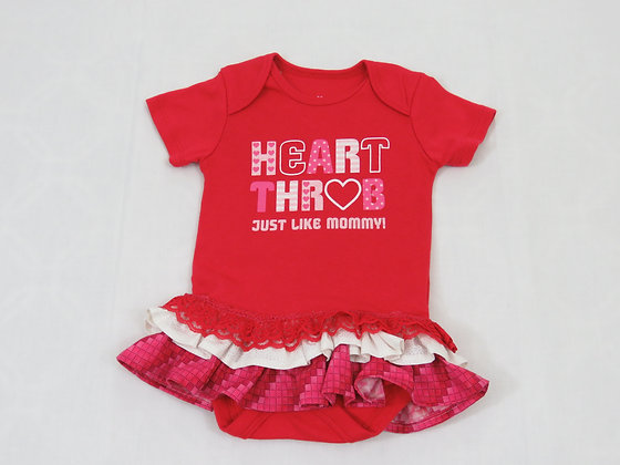 """Heart Thob, Just Like Mommy!"" Onesie Dress, 12mos"