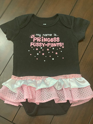 """Princess Fussy-Pants"" Onesie Dress, Size 0-3mos"