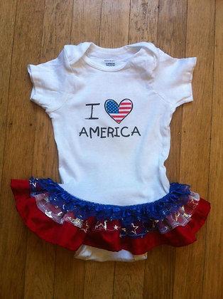 """""""I Love America"""" Onesie Dress, Size 12 months"""