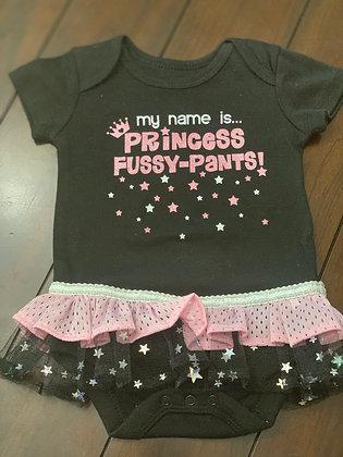 """Princess Fussy-Pants"" Onesie Dress, Size3-6mo"