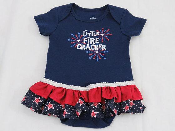 """""""Little Fire Cracker"""" Onesie Dress, Size 0-3 mos"""