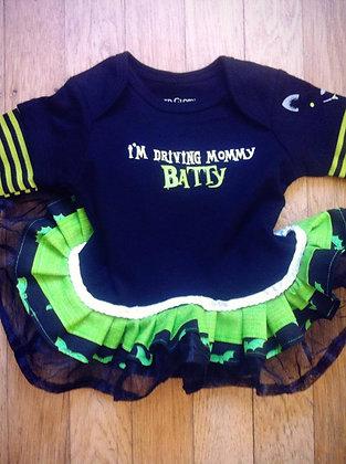 """I Drive Mommy Batty"" Onesie Dress, Newborn"