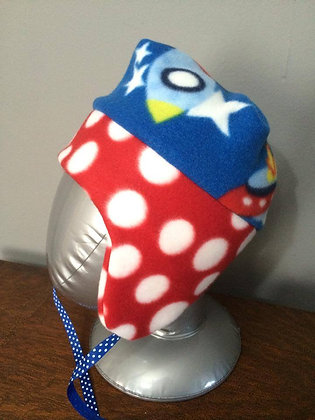 """""""SpaceShip with Red Polka Dots"""" Hat, Size 18 monte"""