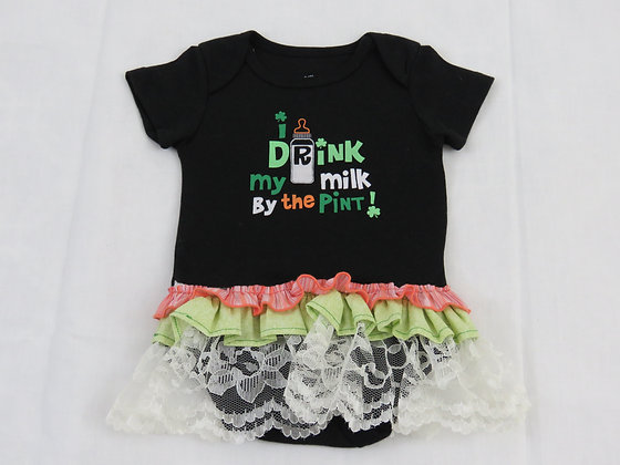 """I Drink My Milk By The Pint!"" Onesie Dress, 0-3mo"