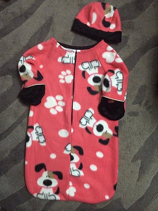 """""""Puppy Paws"""" Bunting with Cap, Size 6 months"""