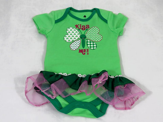 """Kiss Me"" Onesie Dress, Size 3-6mos"