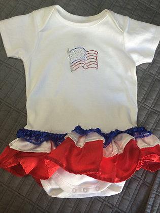 """""""American Flag"""" Onesie Dress, Size 12-18 months"""