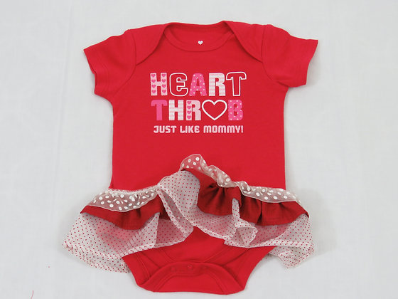 """Heart Throb, Just Like Mommy!"" Onesie Dress, 3-6m"