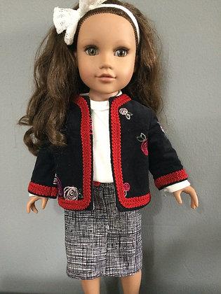 "18"" Doll Jacket, shirt, and Skirt"