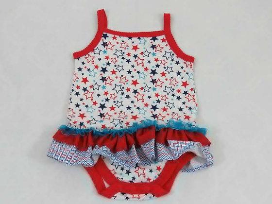 """Red & Blue Stars"" Onesie Dress, Size 12 most"