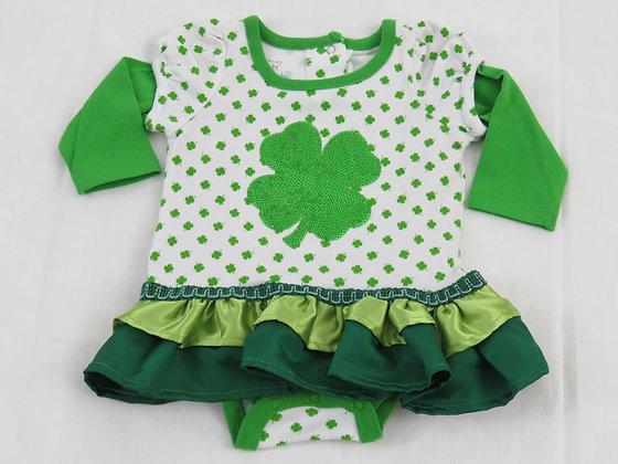 4-Leaf Clover Onesie Dress, Size 3mos