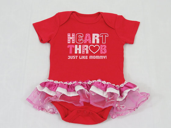 """Heart Throb, Just Like Mommy!"" Onesie Dress, 3-6m"