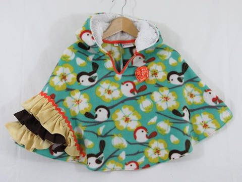"""Birdies"" Hooded Poncho, Size 7"