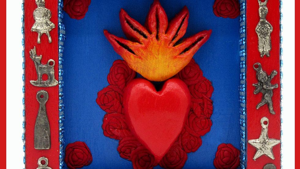 ;Sacred Heart Milagro Box' (blue) by Viva Los Muertos