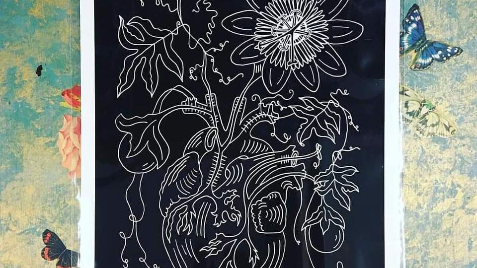'Passion-flower Of My Heart' A4 Print by Viva La May