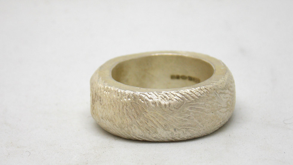Silver 'Industrial' Carved Ring by Bethany May Silver