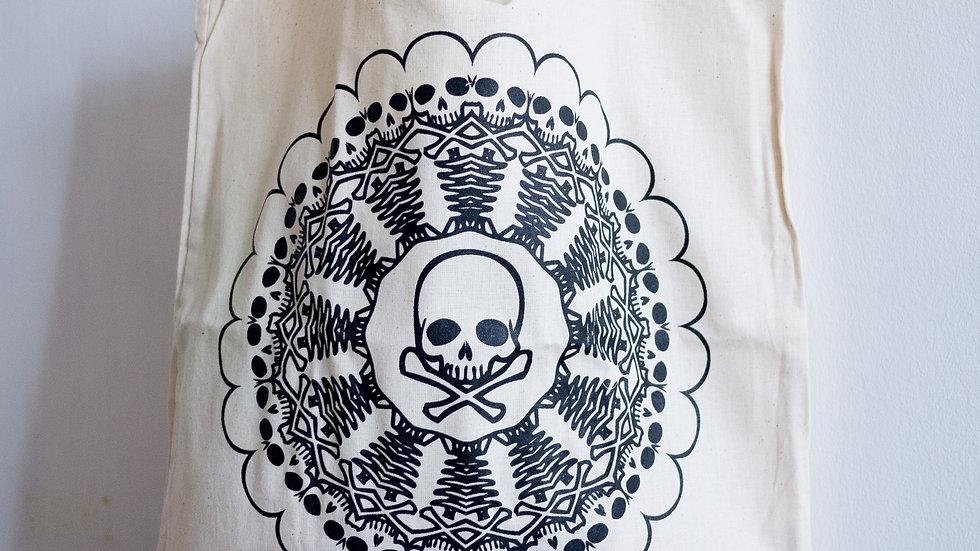 'Skull Mandala' Tote Bag by Lisa Travers