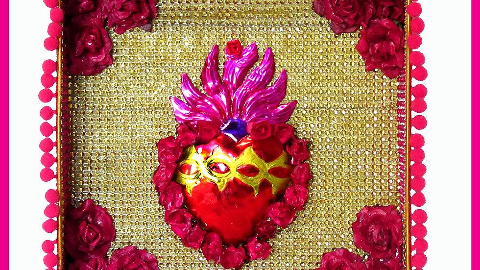 'Sacred Heart Gold Tin Box' byViva Los Muertos