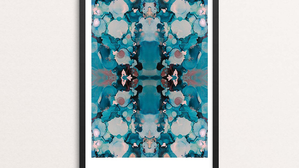 'Blue Inkblot' A3 print by Lisa Travers