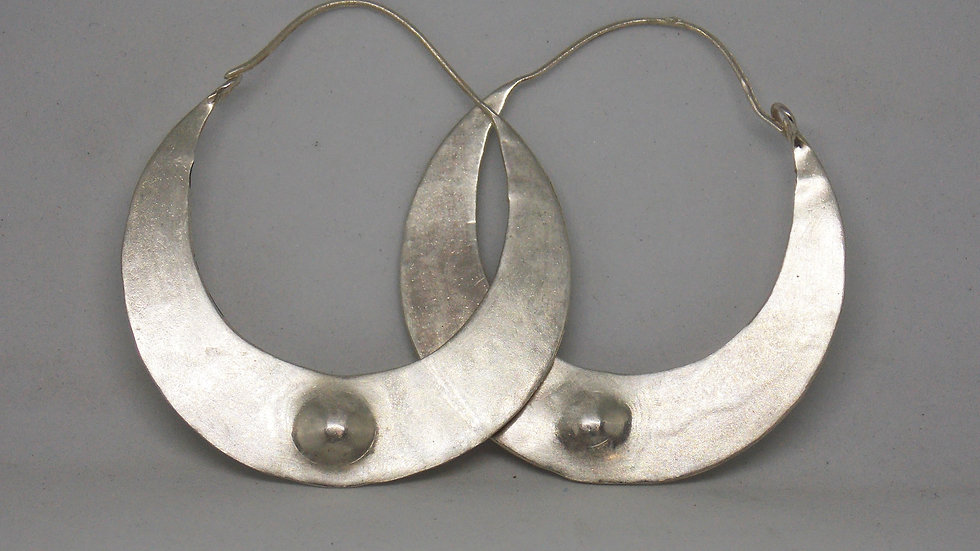 Silver 'Crescent Moon' Hoops by Bethany May Silver