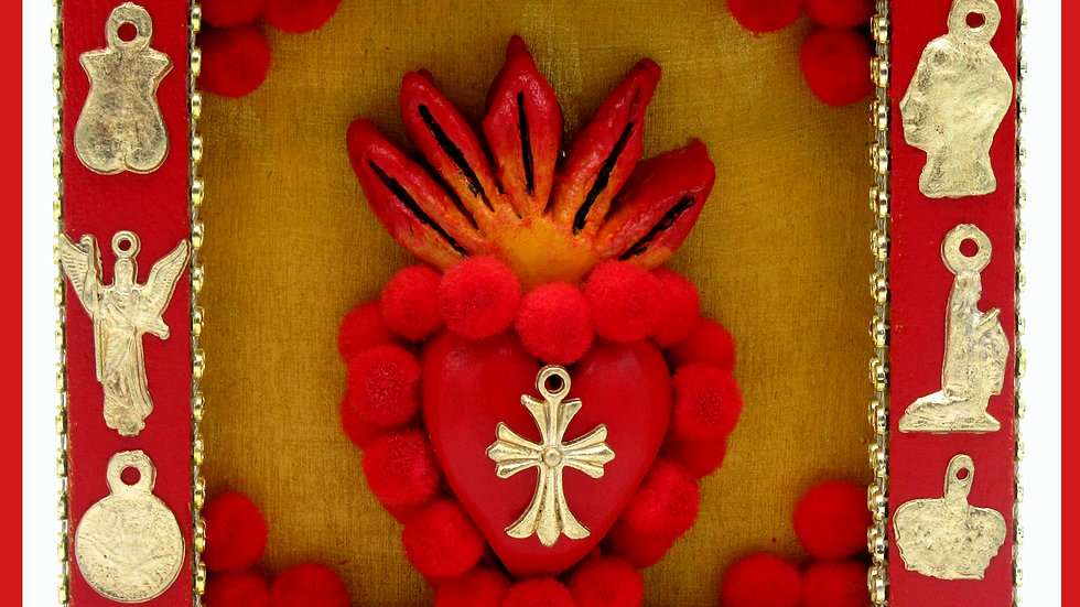 'Sacred Heart/Cross Milagro Box' (Gold) by Viva Los Muertos