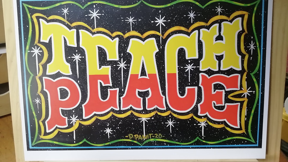 'Teach Peace' by Dave Panit (A3 print)